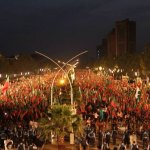 Pakistan Tehrik-e-Insaf of former cricket hero-turned politician Imran Khan staged a big rally in Islamabad on May 11, demanding electoral reforms to cleans the country's rotten electoral system. (Photo by Sajjad Hussain, Creative Commons License)
