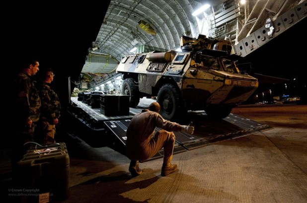 French VAB vehicle being unloaded from RAF C17 in Mali. (Photo by UK Ministry of Defense, Creative Commons License)