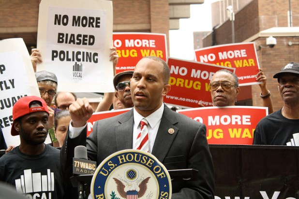 U.S. Congressman Hakeem Jeffries spoke at a rally in May against continuing low-level, racially biased marijuana arrests in New York City. (Photo by VOCAL-NY, Creative Commons License)