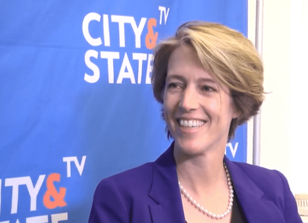 Zephyr Teachout speaking to City and State TV. (Photo via City and State TV videostream)