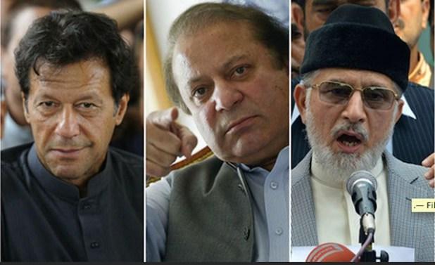 Three main players of Pakistan's ongoing political drama -- Opposition leader Imran Khan, embattled Prime Minister Nawaz Sharif and Dr Tahirul Qadri. (Photo via Dawn)