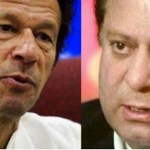 Two main characters of Pakistan's ongoing political drama Imran Khan (left) and embattled Prime Minister Nawaz Sharif.