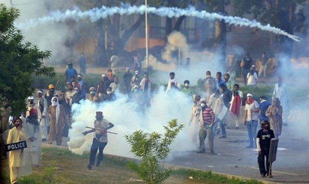 Opposition supporters clash with police on Islamabad's Constitution Avenue on August 31st.