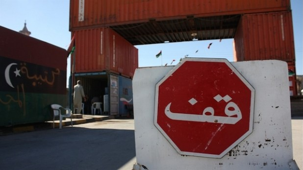 A stop sign outside a rebel-made checkpoint in post-war Misrata, Libya. November 2011. (Photo by Heba Aly via IRIN)