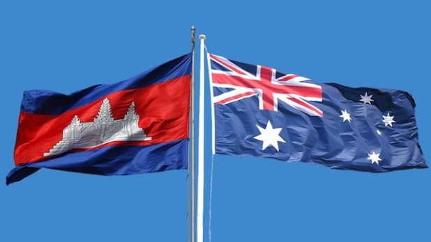 Cambodia and Australia flags. (Photo by IRIN)