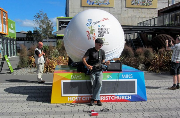A big cricket ball with a countdown watch for 2015 Cricket World Cup in Christchurch, New Zealand.  (Photo Jocelyn Kinghorn, Creative Commons License)