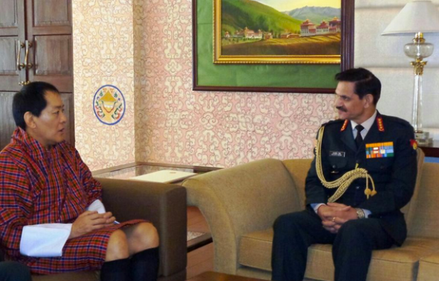 India's army chief General Dalbir Singh during a meeting with His Majesty Jigme Singye Wangchuck, the fourth King of Bhutan. (Photo via ADG PI--Indian Army/Twitter)