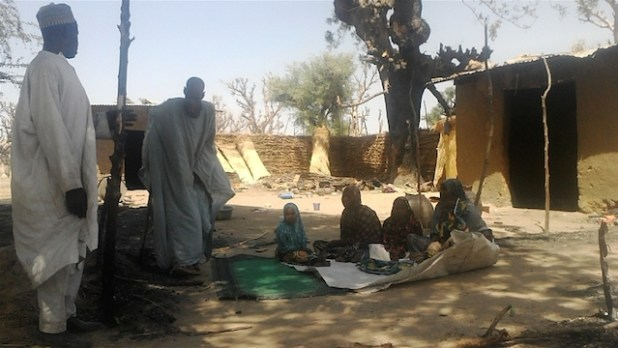 IDPs from Damboa village in Borno State sheltering in the home of a relative.  (Photo by Aminu Abubakar/IRIN)