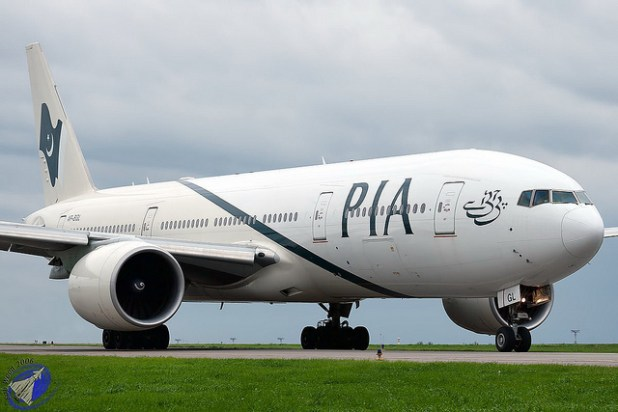 A passenger airliner of Pakistan International AIrlines, that has been facing heavy losses for the past of many years.