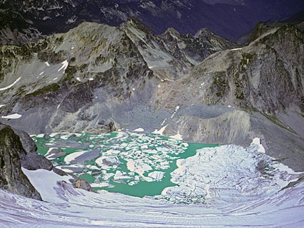 Pea Soup Lake, north side Mt. Daniel, looking down Lynch Glacier some years ago when the ice persisted through the summer - no more! Alpine Lakes Wilderness. (Photo by Richard Droker, Creative Commons License)