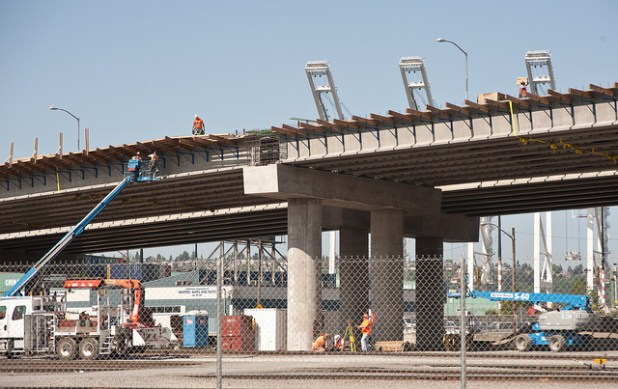 A file photo of the northbound SR 99 bridge when it was under construction in 2012 in Downtown Seattle. (Photo by Washington State Dept of Transportation)