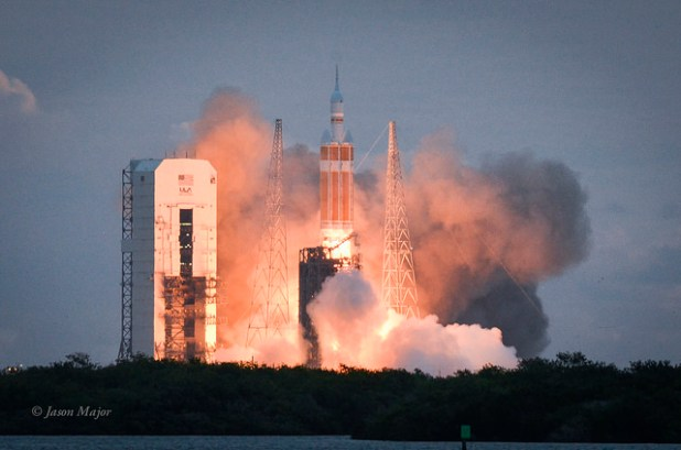 The rocket with NASA's Orion spacecraft mounted on top lifts off from Cape Canaveral Air Force Station on December 5, 2014. (Photo by Jason Major, Creative Commons License)