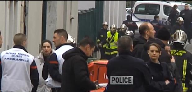 French police investigators at the scene of deadly terrorist attack. (Photo from videostream)