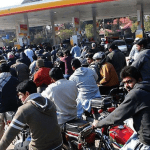 Long lines for gas were seen in Rawalpindi and other cities in recent days because of an artificial shortage caused by poor governance. Pakistan remains conflict-driven, its security crisis precipitating the consequences of an elitist-driven governance system. (Photo by PPI via Dawn)