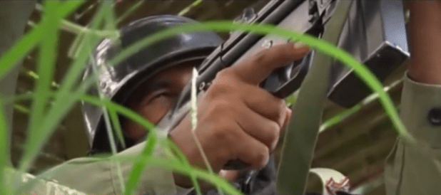 A Pakistani soldier guards a border post on boder with India. (Photo via video stream)
