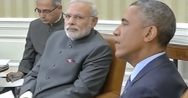 India Prime Minister Narendra Modi with President Obama during his visit to India. (Photo from video stream)