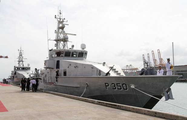 The two patrol boats gifted by the Australian government docked at the port of Colombo. (Photo by Mahinda Rajapaksa, Creative Commons License)