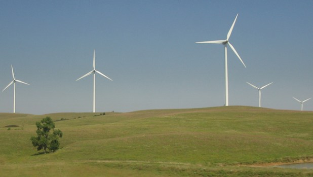Wind turbines from the Smoky Hills Wind Farm. (Photo by Stephen Johnson, CC License)