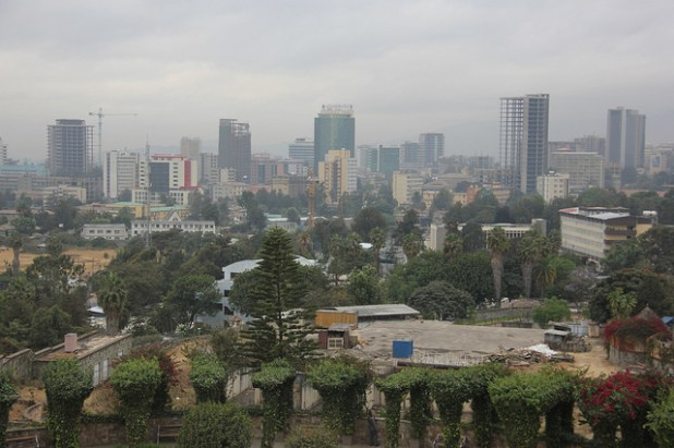 Addis Ababa's skyline is dotted with high rise buildings. (Photo by  Laika ac, Creative Commons License)
