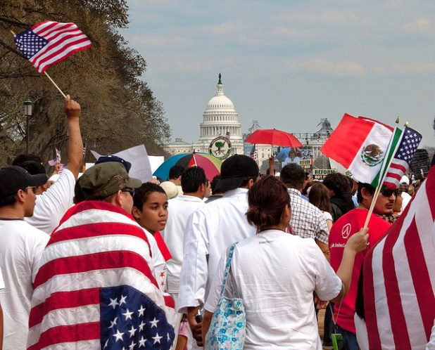 A rally in support of immigration reforms in Washington DC. (Photo by Victoria Pickering, Creative Commons License)