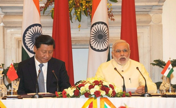 Indian Prime Minister Narendra Modi at the Press Briefing with President Xi Jinping of China. (Photo via Indian PM's office)