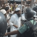Bangladeshi police fighting Islamist protesters in Dhaka. (Photo from video stream)