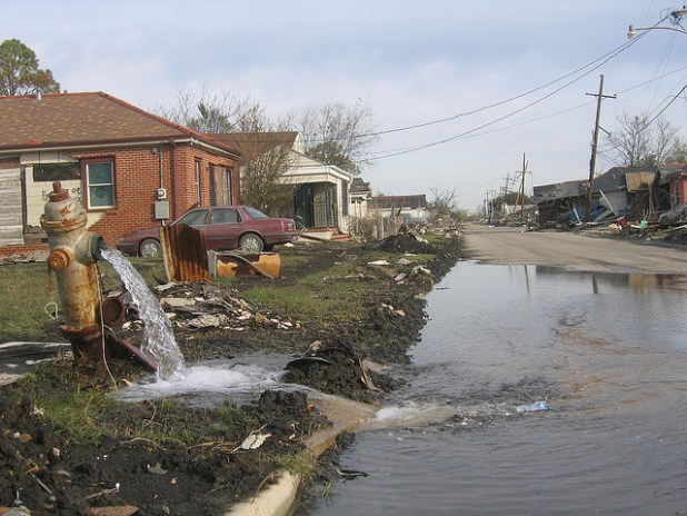 A view of destruction in the Lower Ninth Ward New Orleans after Hurricane Katrina devastated the city ten years ago.  (Photo by John McQuaid, Creative Commons License)