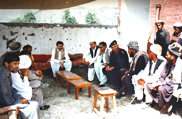 The author meeting tribal elders at his village when he was the Political Agent of North Waziristan.