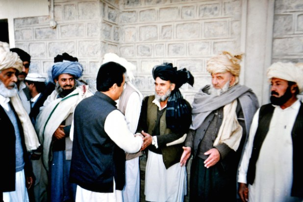 The author meeting tribal elders while serving as the top administrator of North Waziristan Agency. (Photo via Ghulam Qadir Khan)
