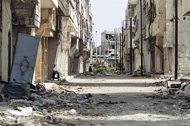 A view of destruction in the Bab Amro neighborhood of Homs. (Photo by Freedom House, Creative Commons License)
