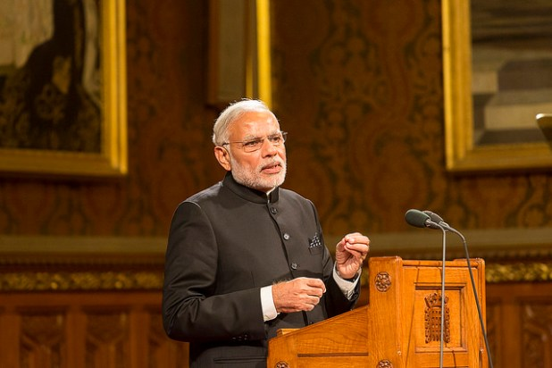 Prime Minister Narendra Modi addressing the British Parliament in November 2015. (House of Lords 2015 / Photography by Roger Harris, Creative Commons License)