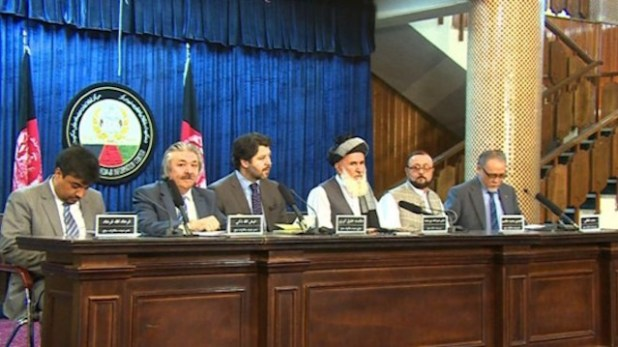 Head of Afghan High Peace Council Hekmat Khalil Karzai (3rd from left) at a meeting in Kabul. (Photo via hpc.org)