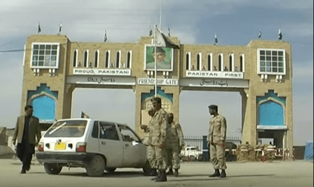 Security personal at Pakistan-Afghanistan border at Chaman in Pakistan's Balochistan province. (Photo via video stream)