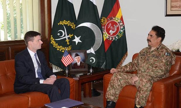 (US ambassador to Pakistan during a meeting with Pakistan's army chief General Raheel Sharif in Rawalpindi. (Photo via News International)