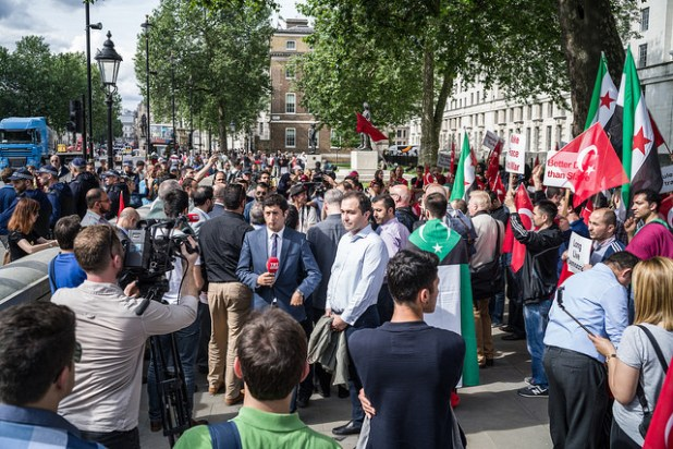 Turkish community demonstrating in London following a failed coup in Turkey. (Photo by Gordon, Creative Commons License)