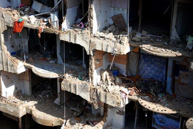 More than 50,000 Pakistanis have lost their lives in terrorist attacks. File photo shows scale of destruction in a Karachi neighborhood following powerful explosion in Karachi in 2013. (Photo by Nadir Burney, Creative Commons License)