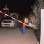 A police vehicle coming out of police academy in Quetta, which was targeted by terrorists, killing 61 people on October 24. (Photo via video stream)