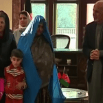 President Ashraf Ghani and Afghanistan's first lady meet Sharbat Gula after her return to Afghanistan. (Photo via video stream)