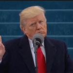 President Donald Trump delivering inaugural speech in Washington DC on January 20. (Photo from video stream)