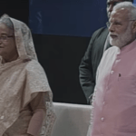 Bangladeshi Prime Minister Sheikh Hasina and Indian Prime Minister Narendra Modi at an event in New Delhi during her April 7-11 visit to India. (Photo via video stream)