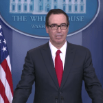 Treasury Secretary Steve Mnuchin announcing massive tax reforms at a briefing in White House on April 26.