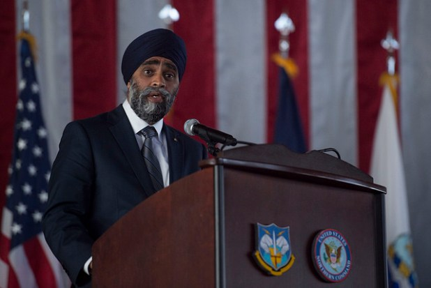 Some indian analysts accuses Canadian Defense Minister Harjit Sajjan of being affiliated with pro-Khalistan groups. (Photo by Senior Master Sgt. Adrian Cadiz, via Jim Mattis, CC license)