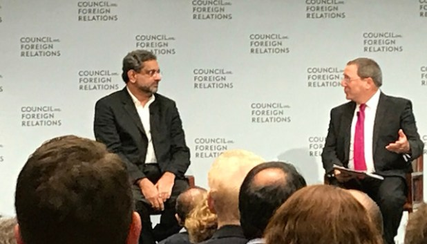 Pakistani Prime Minister Shahid Khaqan Abbasi speaking at the Council on Foreign Relations on New York on September 20. (ViewsWeek photo)