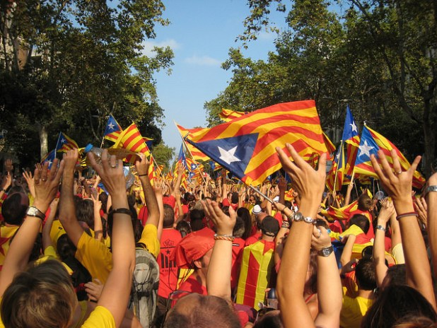 File photo of a huge demonstration of 1.8 million people in the streets of Barcelona demanding the right to vote. Will Catalonia the next state in Europe. (Photo by Joan Campderrós-i-Canas, CC license)