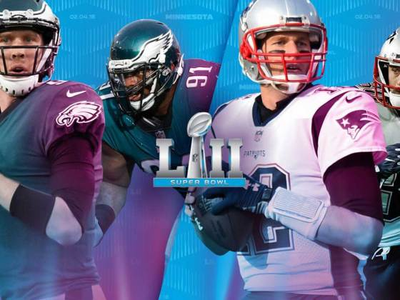 Super Bowl 52 with the Philadelphia Eagles playing against the New England Patriots.