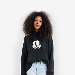 Levi's x Disney Mickey Mouse Oversized Graphic Hoodie Sweater - View the VIBE