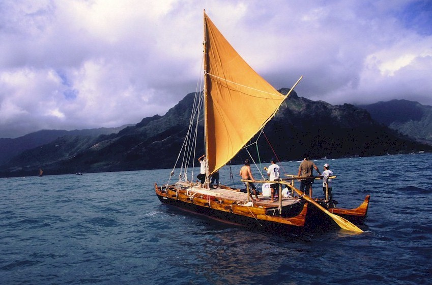 Image result for polynesian sailing canoe