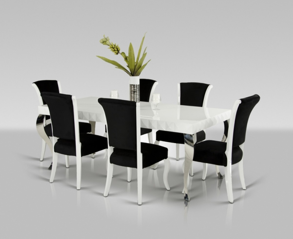 Modern White & Black Dining Set