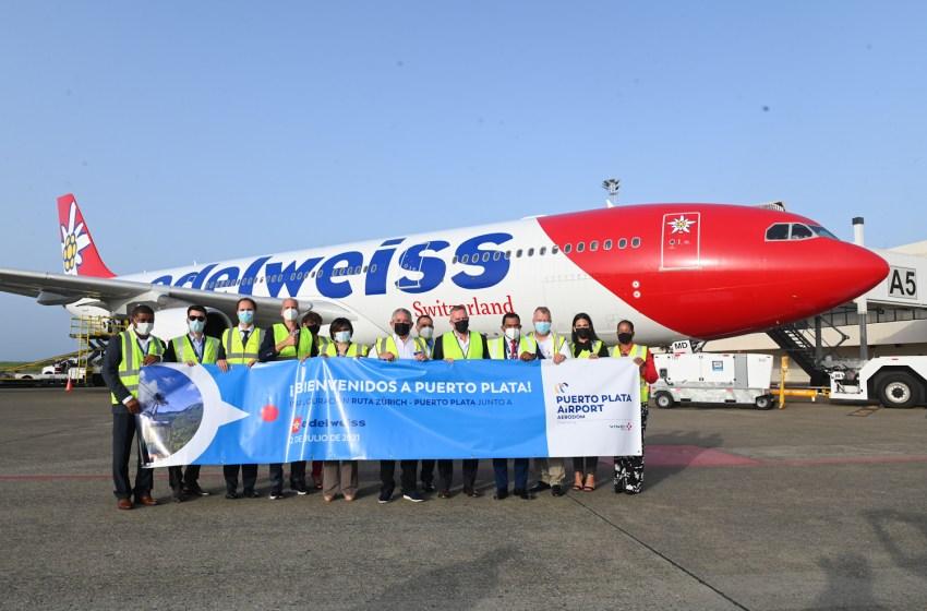 Aerolínea Edelweiss realiza vuelo directo Zúrich, Suiza a Puerto Plata