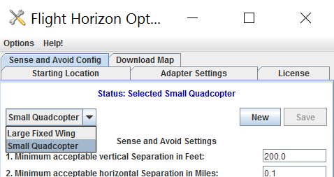 <b>Default Options for Fixed-wing and Quadcopter Aircraft</b></h2> <p>Ability to select pre-configured option sets from a drop-down menu based on the type of aircraft being flown. Default option sets include one optimized for fixed-wing UAS and another for sUAS quadcopter aircraft.</p> <h2>